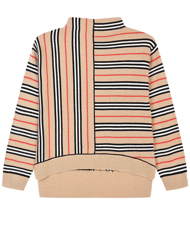 Купить Бежевый свитер из кашемира и шерсти в фирменную полоску Burberry детский, 55%кашемир+45%шерсть