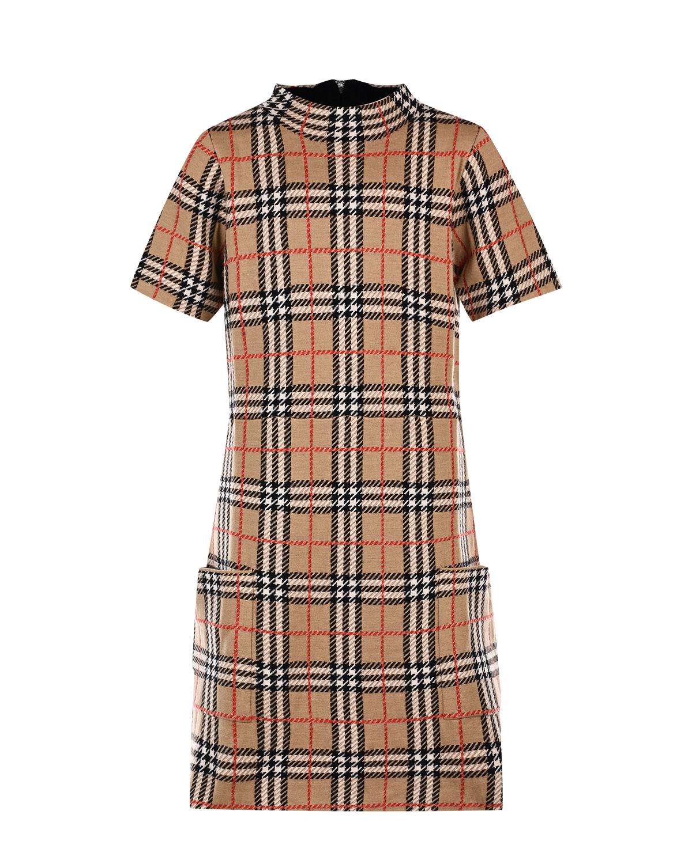 Купить Бежевое платье из шерсти в клетку Vintage Check Burberry