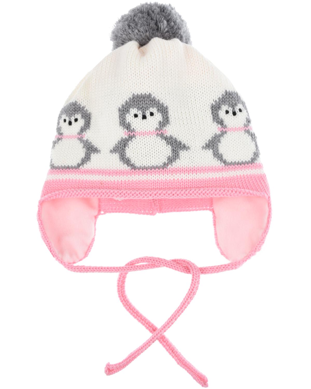 Шерстяная шапка с пингвинами Catya детская фото