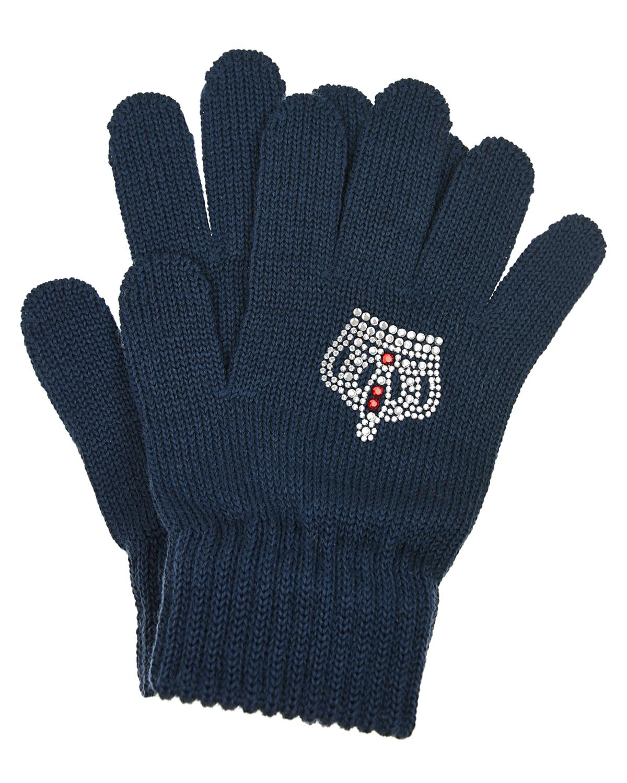 Синие перчатки с короной Catya детские фото
