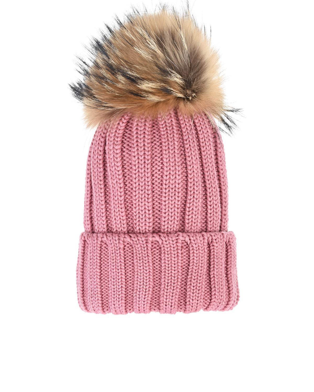 Розовая шапка со съемным меховым помпоном Catya детская фото