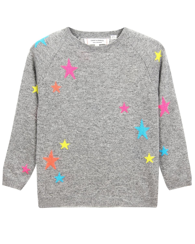Купить Серый кашемировый джемпер с декором звезды Chinti&Parker детский, 100%кашемир