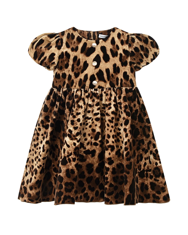 Леопардовое платье с шортиками Dolce&Gabbana детское фото
