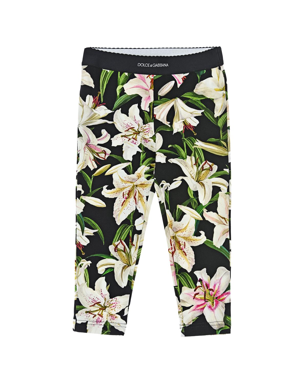Купить Леггинсы с принтом лилии Dolce&Gabbana детские, Черный, 90%хлопок+10%эластан, 50%полиамид+39%полиэстер+11%эластан