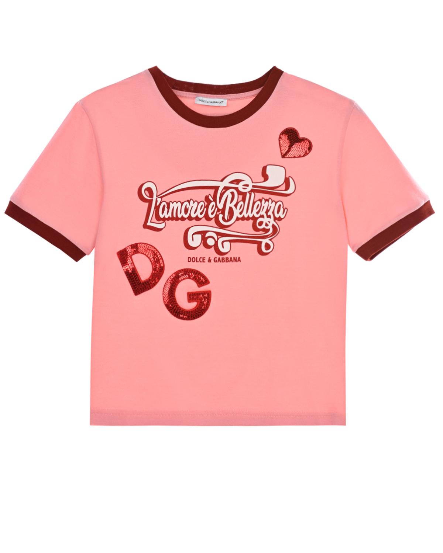 Розовая футболка с выишивкой пайетками Dolce&Gabbana детская фото