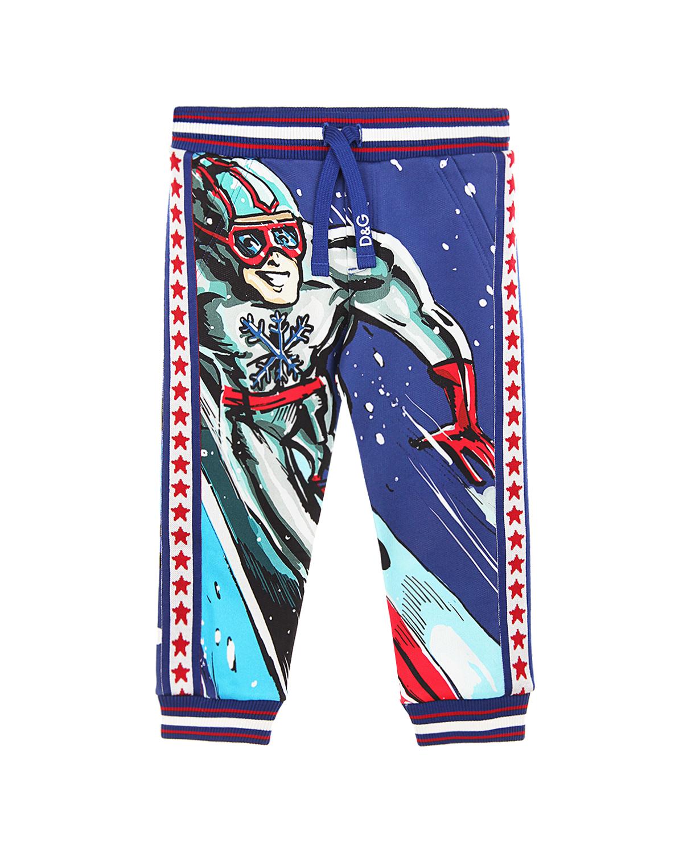 Купить Спортивные брюки с принтом Super Ski Dolce&Gabbana детские, Синий, 100%хлопок, 96%хлопок+4%эластан
