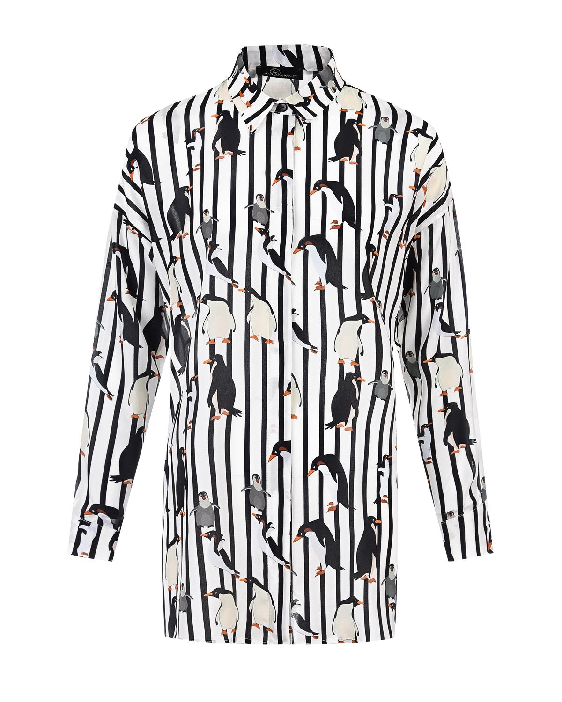 Купить Рубашка для беременных с принтом пингвины Dan Maralex, Нет цвета, 100%шелк
