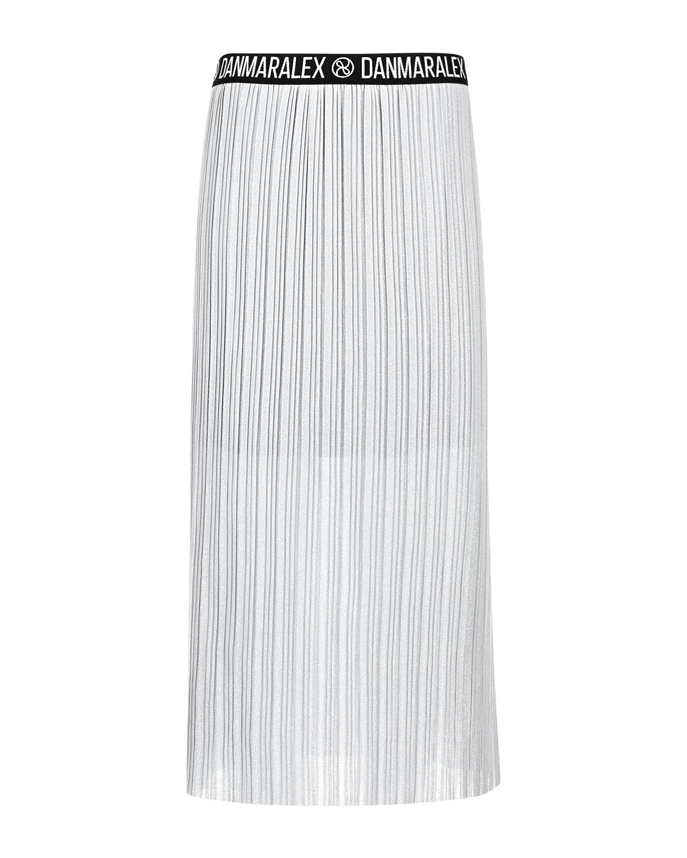 Купить со скидкой Серебристая плиссированная юбка для беременных Dan Maralex