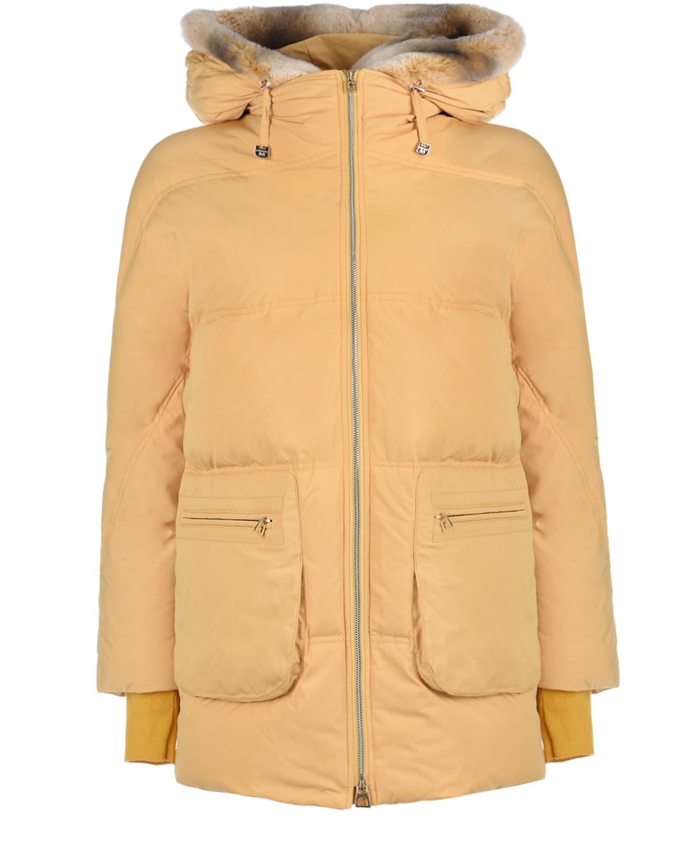 Куртка песочного цвета с меховой отделкой Diego M фото
