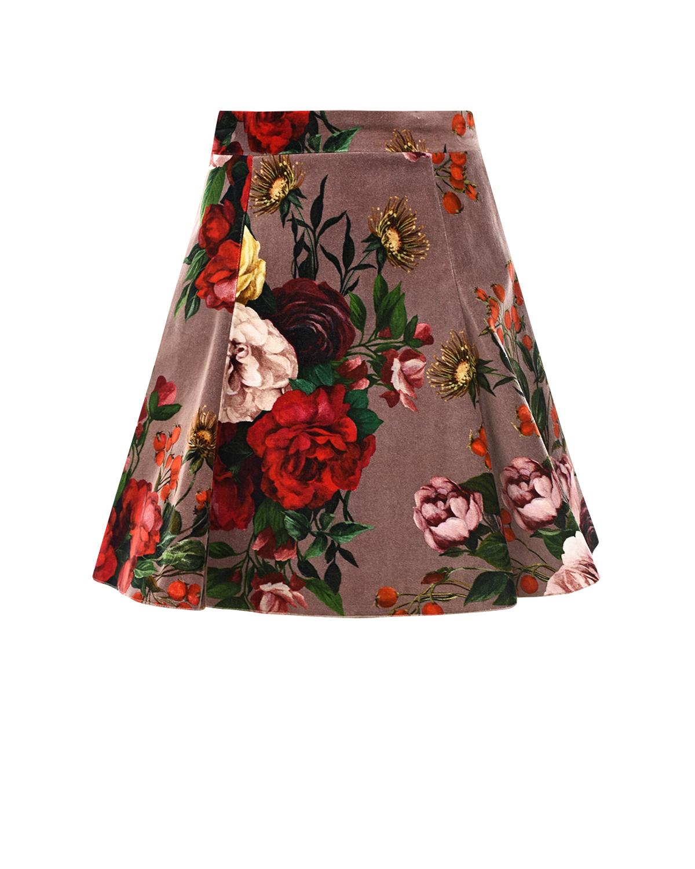 Бархатная юбка с цветочным принтом Dolce&Gabbana детская фото
