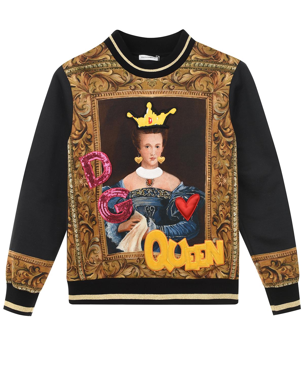Купить Свитшот с барочным принтом Dolce&Gabbana детский, Мультиколор, 100%хлопок, 23%хлопок+4%полиамид+40%полиэстер+32%вискоза+1%металл.полиэстер, 83%хлопок+9%вискоза+5%эластан+3%полиэстер