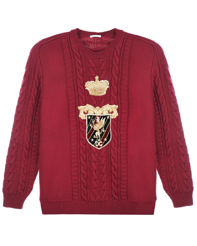 Купить Бордовый джемпер из шерсти Dolce&Gabbana детский, 100%шерсть, 60%хлопок+15%полиэстер+10%шелк+5%вискоза+5%полиамид+5%метал.полиэстер