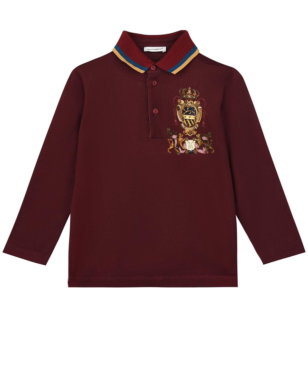 """Бордовая толстовка-поло с принтом """"герб"""" Dolce&Gabbana детская фото"""