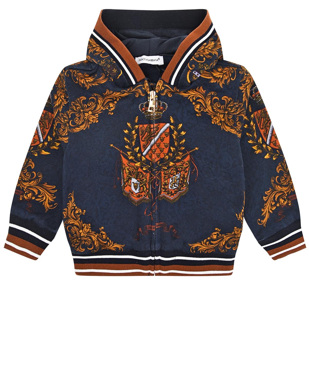 Купить Синяя спортивная куртка с принтом гербы Dolce&Gabbana детская, Синий, 100%хлопок, 95%хлопок+5%эластан