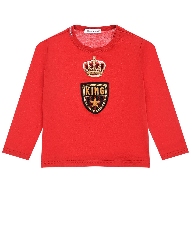 """Красная толстовка с аппликацией """"корона"""" Dolce&Gabbana детская фото"""