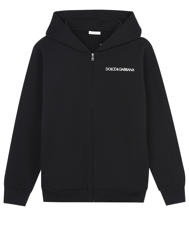 Купить Черная спортивная куртка с вышитым логотипом Dolce&Gabbana детская, Черный, 100%хлопок, 100%полиэстер, 95%хлопок+5%эластан