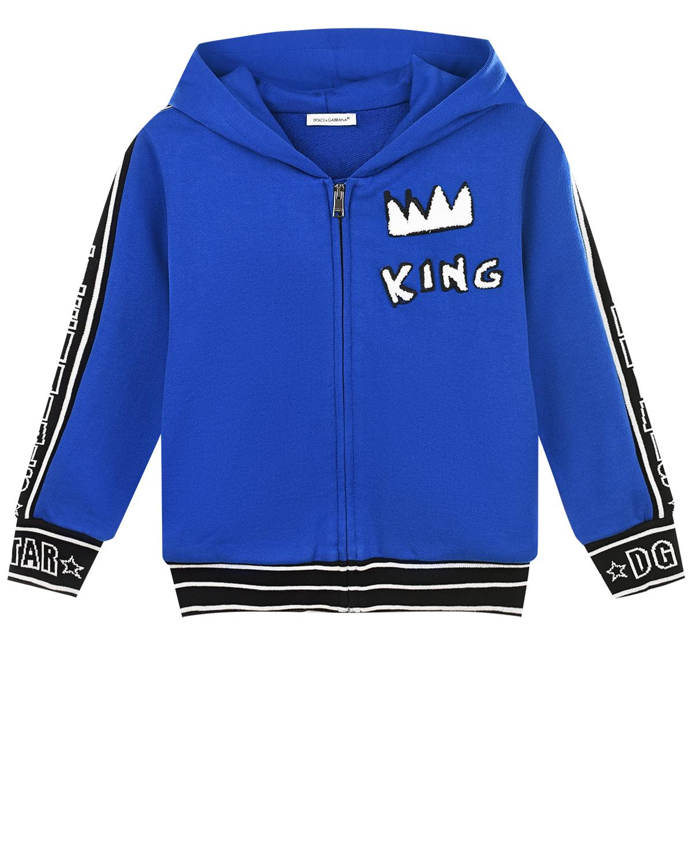Купить Синяя спортивная куртка с аппликацией King Dolce&Gabbana детская, Синий, 100%хлопок. 100%хлопок. 96%хлопок+4%эластан, 40%шерсть+40%акрил+20%вискоза