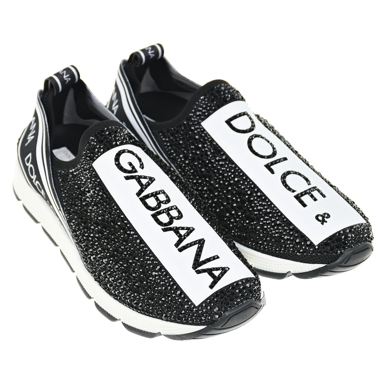 Купить Кроссовки SORRENTO со стразами Dolce&Gabbana детские, Черный, верх:текстиль(59%полиамид+27%вискоза+14%эластан), подкладка:нат.кожа, пенополиуретан, подошва:100%резина