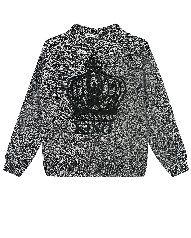 Купить Серый джемпер из шерсти и кашемира с вышивкой Dolce&Gabbana детский, 70%шерсть+30%кашемир, 100%шерсть