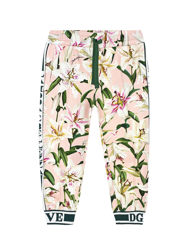 """Купить со скидкой Розовые спортивные брюки с принтом """"лилии"""" Dolce&Gabbana детские"""