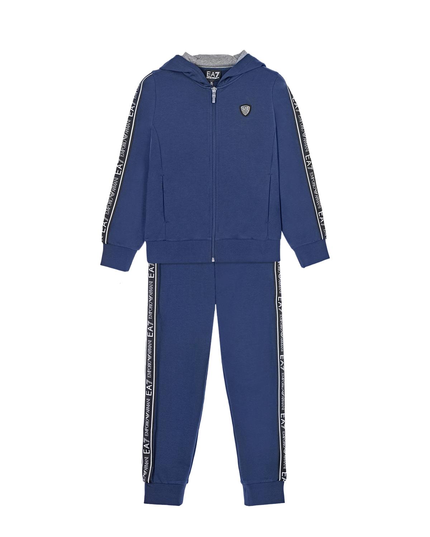 Купить Синий спортивный костюм из двух деталей EA7 детский, 96%хлопок+4%эластан, 100%хлопок, 100%полиэстер, 97%хлопок+3%эластан