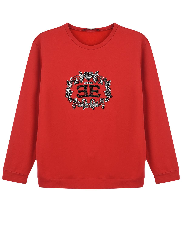 Купить Красный свитшот с логотипом и стразами Ermanno Scervino детский, 95%хлопок+5%эластан, 100%нейлон. 100%стекло