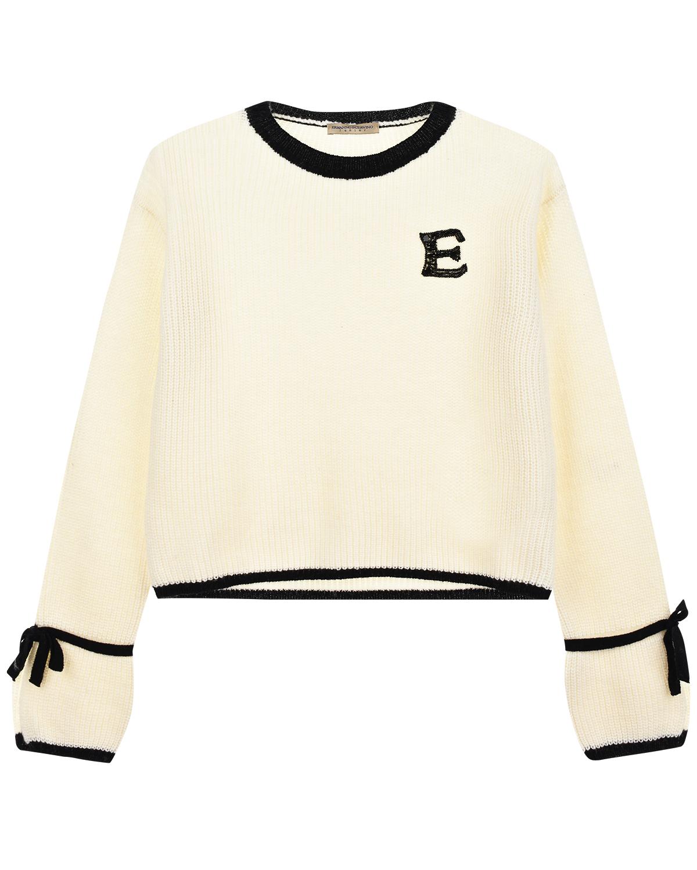 Купить Белый джемпер с контрастной отделкой Ermanno Scervino детский, 47%шерсть+30%вискоза+15%полиамид+8%кашемир, 100%полиамид, стекло