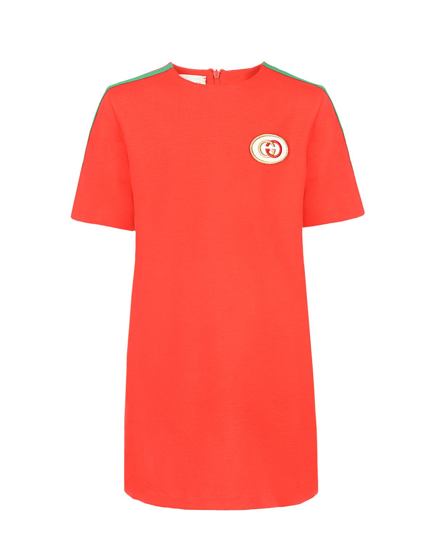 Купить Красное платье с короткими рукавами GUCCI детское, Красный, 95%вискоза+5%эластан, 100%полиэстер. 75%полиэстер+14%вискоза+11%металл.полиэстер