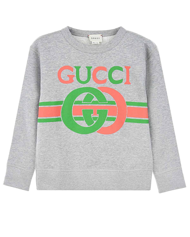 Купить Свитшот GUCCI детский, Серый, 100%хлопок