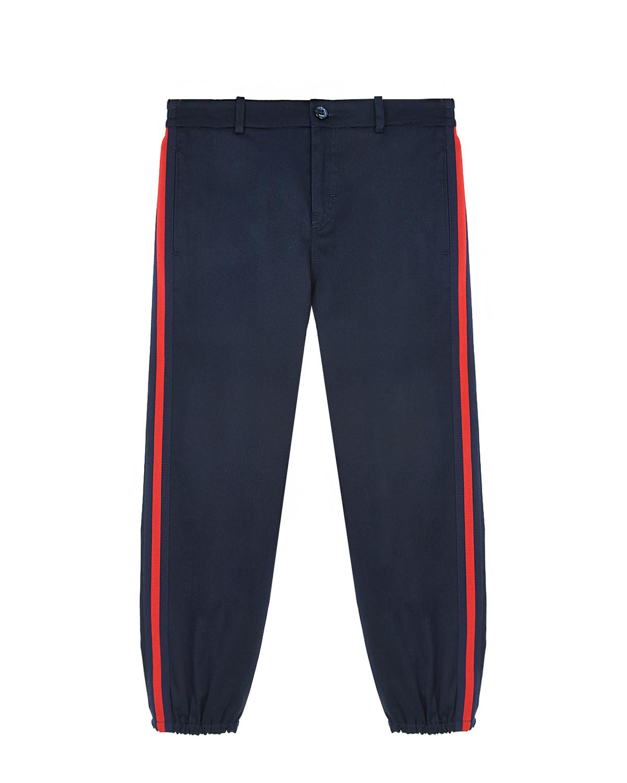 Купить Синие брюки в спортивном стиле GUCCI детские, Синий, 98%хлопок+2%эластан, 65%вискоза+35%хлопок, 100%полиэстер