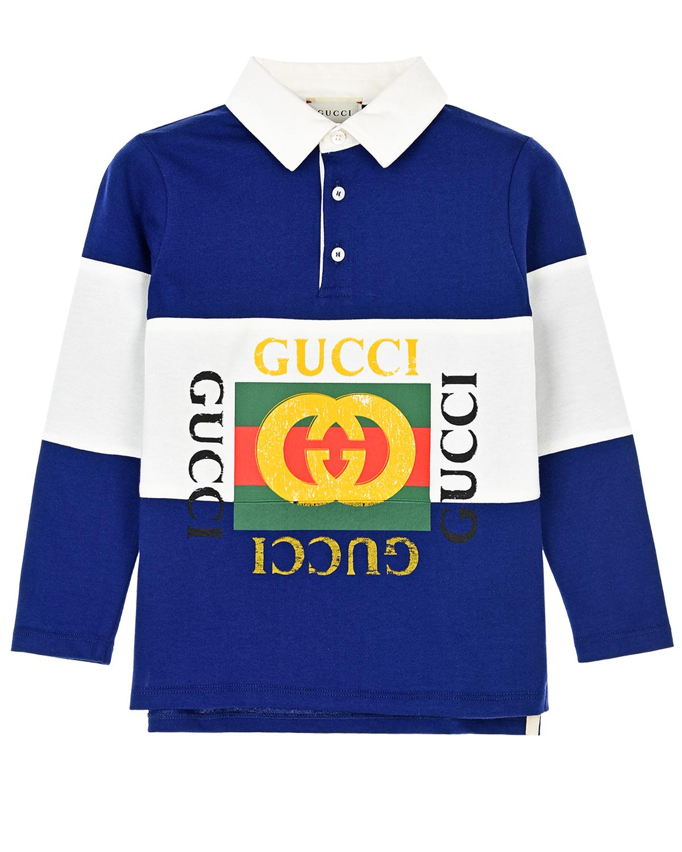Купить Толстовка-поло с логотипом GUCCI детская, Мультиколор, 100%хлопок, 98%хлопок+2%эластан