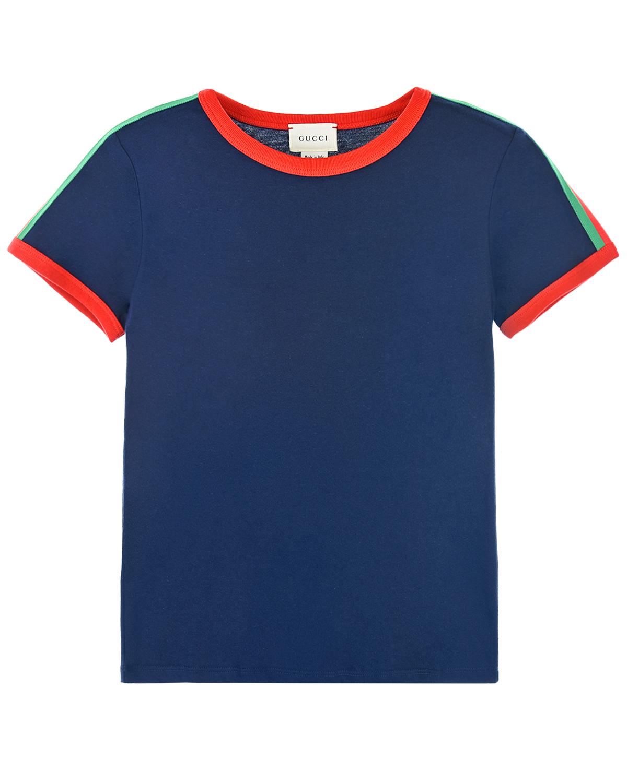 Синяя футболка с контрастной отделкой GUCCI детская, Синий, 100%хлопок, 100%полиэстер  - купить со скидкой