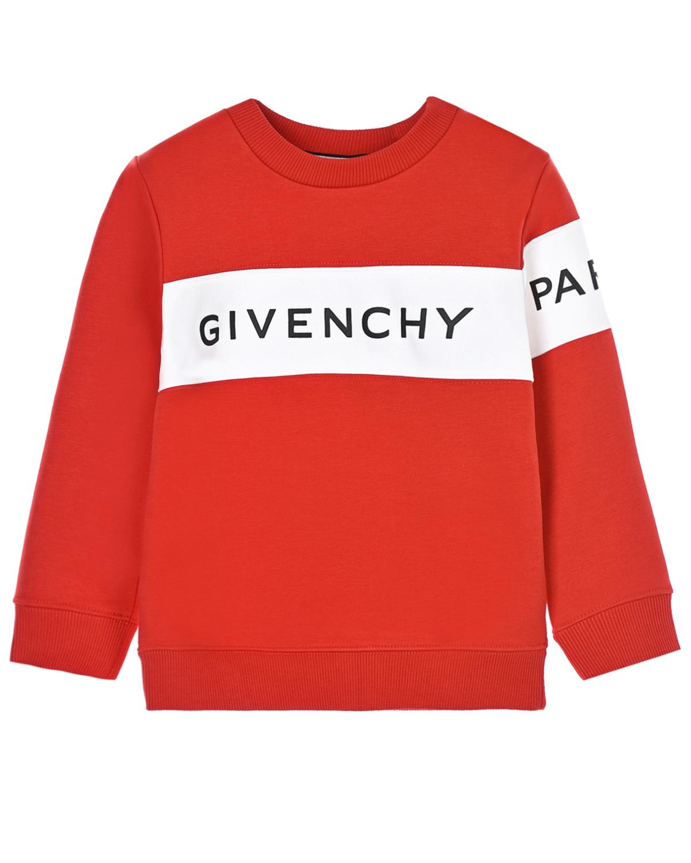 Купить Свитшот с контрастной вставкой Givenchy детский, Красный, 98%хлопок+2%эластан, 86%хлопок+14%полиэстер