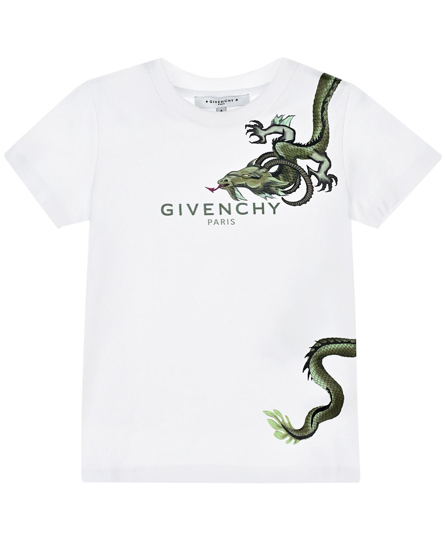 Белая футболка с принтом Givenchy детская фото
