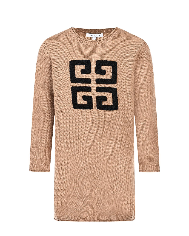 Купить Бежевое платье из шерсти и кашемира Givenchy детское, Коричневый, 70%шерсть+30%кашемир