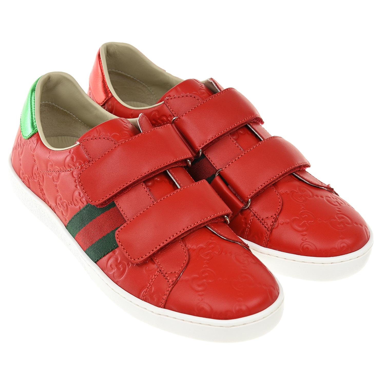 Красные кожаные кеды GUCCI детские
