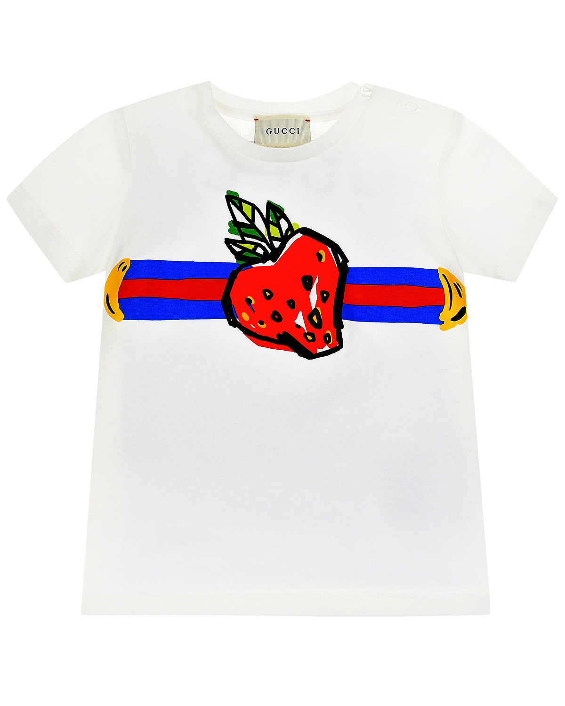 Белая футболка с принтом GUCCI детская фото