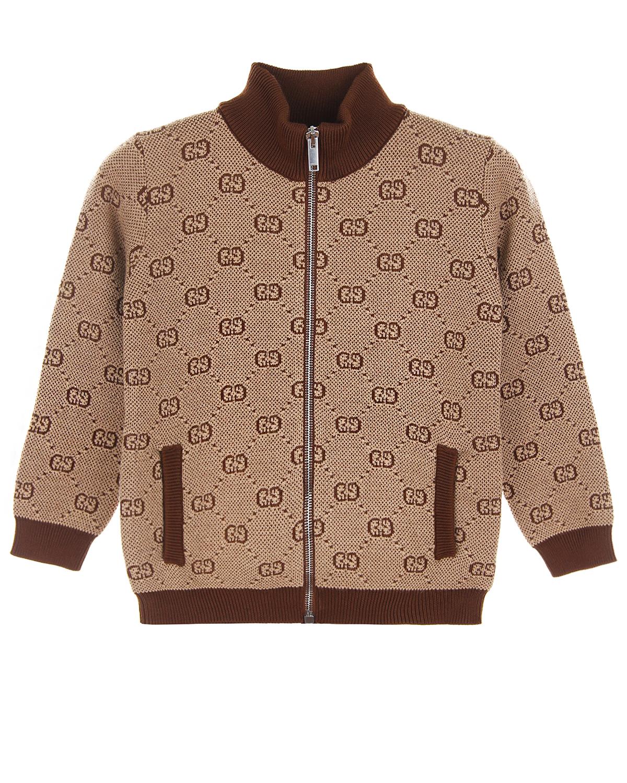 Купить Бежевая кофта GG Supreme из шерсти и хлопка GUCCI детская, Серый, 80%шерсть+20%хлопок, 100%хлопок