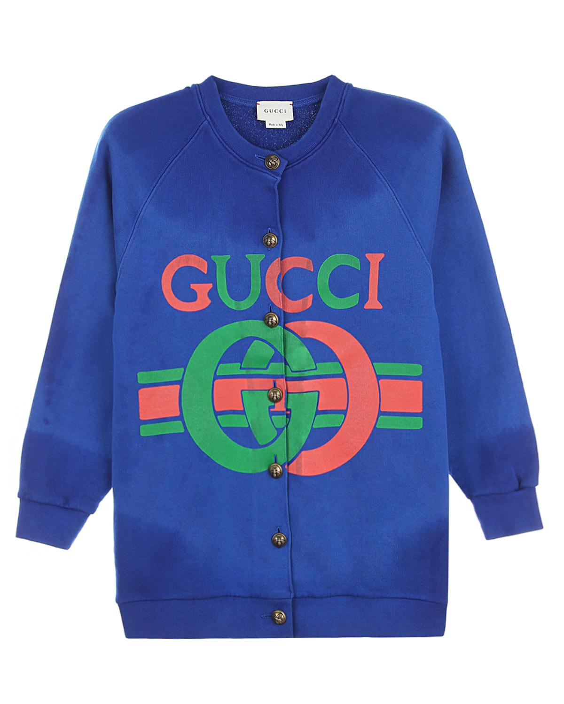 Купить Синий кардиган из хлопка с рукавами-реглан GUCCI детский, 100%хлопок