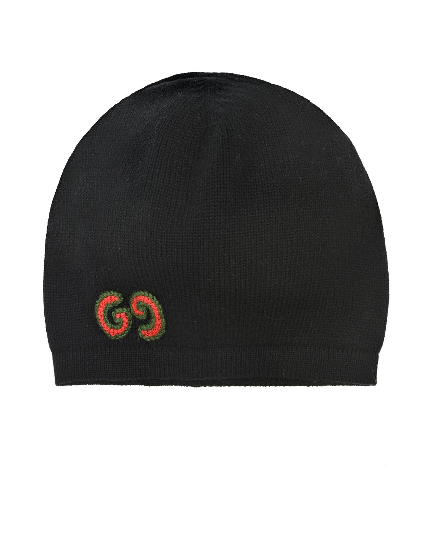 Купить Черный берет с вышитым логотипом GUCCI детский, 90%шерсть+10%кашемир, 50%вискоза+50%хлопок