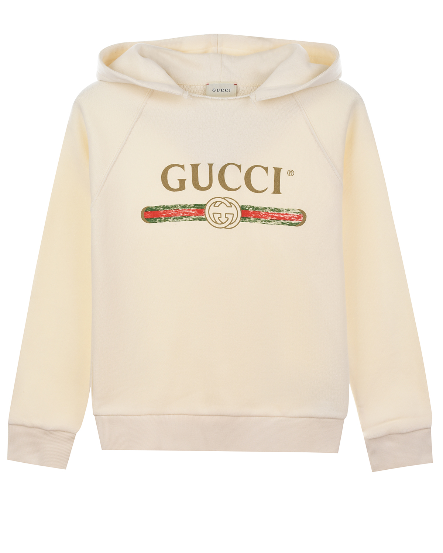 Кремовая толстовка-худи с логотипом GUCCI детская фото