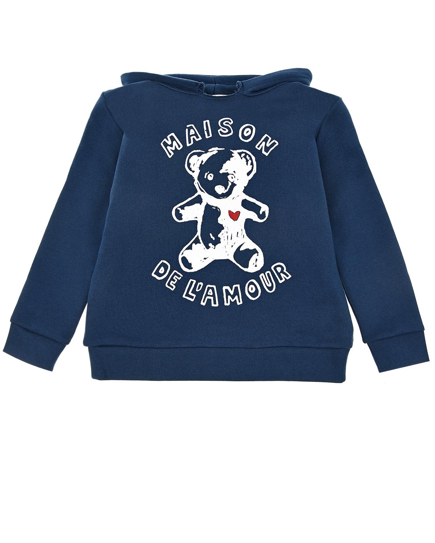 Купить Синяя толстовка-худи из хлопка GUCCI детская, Синий, 100%хлопок