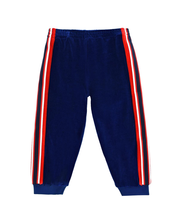 Купить Синие спортивные брюки из велюра с лампасами GUCCI детские, Синий, 100%хлопок, 85%хлопок+15%полиамид, 72%полиэстер+25%полиамид+3%эластан, 69%вискоза+31%хлопок