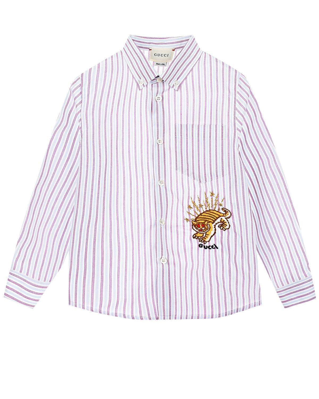 Купить Рубашка в полоску с вышитым тигром GUCCI детская, Мультиколор, 100%хлопок, 76%хлопок+14%полиэстер+8%полиэстер+2%вискоза
