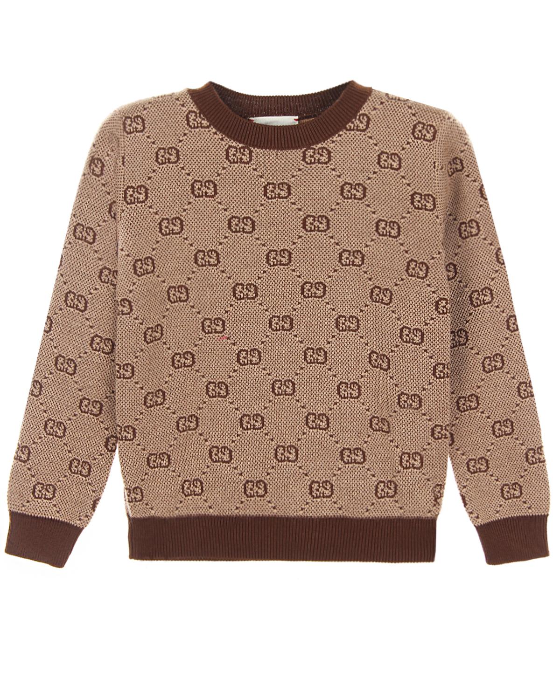 Купить Джемпер GG Supreme из шерсти и хлопка GUCCI детский, Бежевый, 80%шерсть+20%хлопок. 100%хлопок
