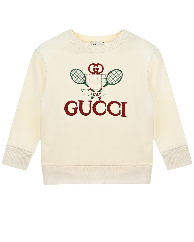 Купить Свитшот с вышитым логотипом GUCCI детский, Белый, 100%хлопок, 100%полиэстер