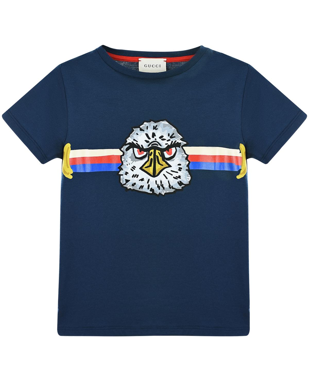 Купить Синяя футболка из хлопка GUCCI детская, Синий, 100%хлопок