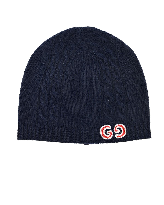 Купить Шерстяная шапка с вышитым логотипом GUCCI детская, Синий, 100%шерсть