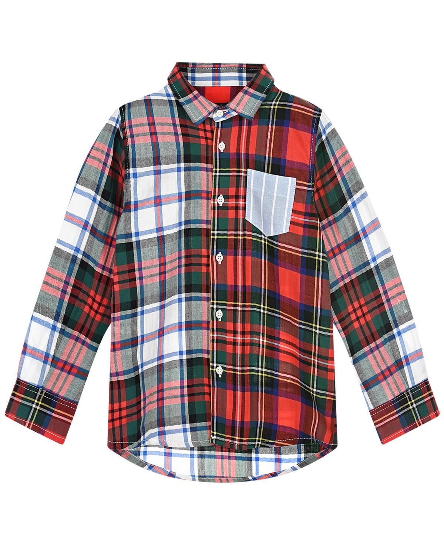 Хлопковая рубашка в клетку IL Gufo детская фото