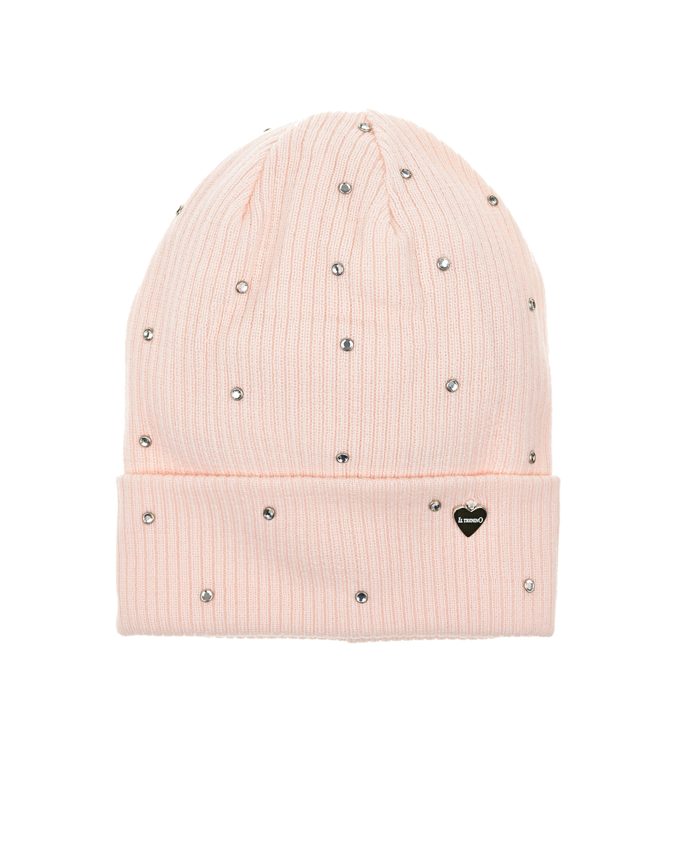 Купить Шапка из шерсти с отворотом и заклепками Il Trenino, Розовый, 100%шерсть